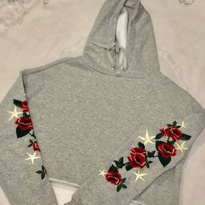 Sweaters - H and M Divided embroidered cropped hoodie